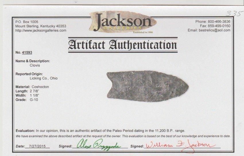 "2 7/8"" Clovis. Licking Co, OH.  Jackson G10 COA - 3"