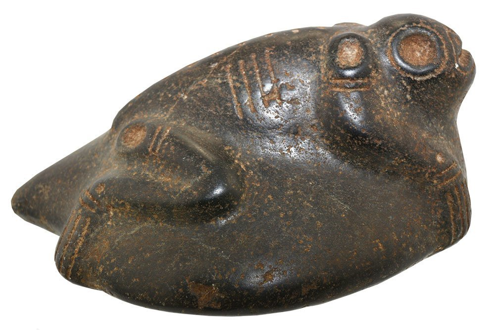 "7"" Taino Stone Frog Effigy.  Hispaniola.  Circa 1500"