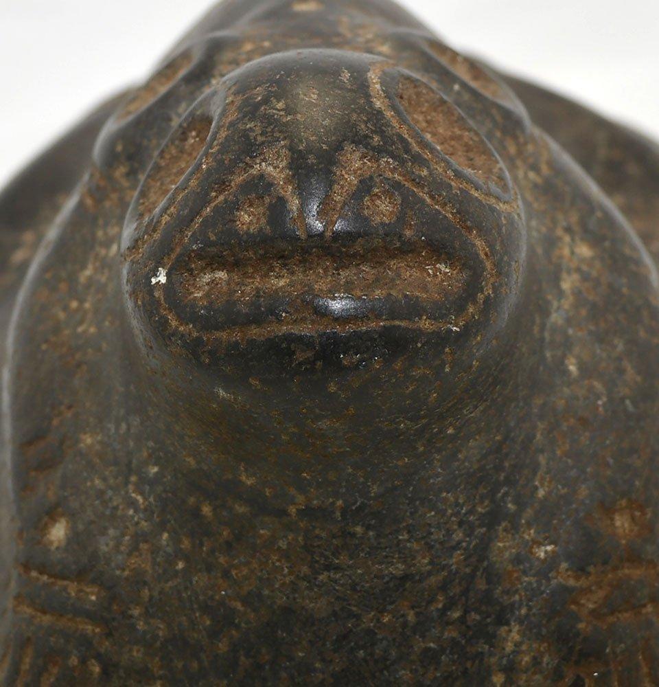 "7"" Taino Stone Frog Effigy.  Hispaniola.  Circa 1500 - 4"