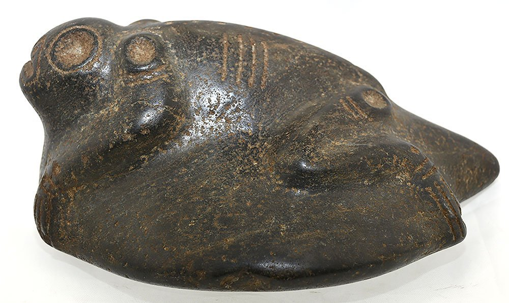 "7"" Taino Stone Frog Effigy.  Hispaniola.  Circa 1500 - 5"