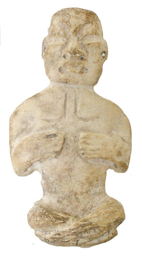 "Rare 2 3/4"" Olmec Human Effigy Shell Carving."