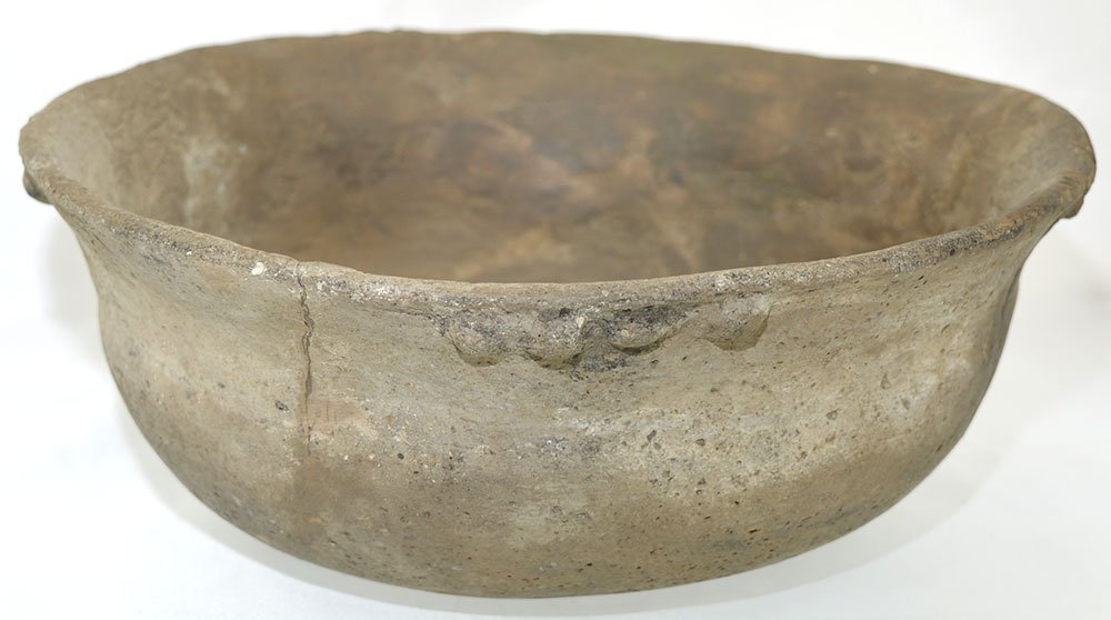 "9 1/2"" D. Mississippian Bowl with noded rim.  Some - 2"