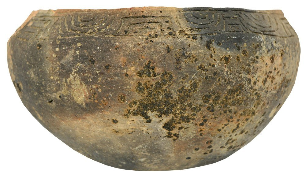 "8 1/8"" D. Three Line Engraved Bowl.  Long Island, AL."
