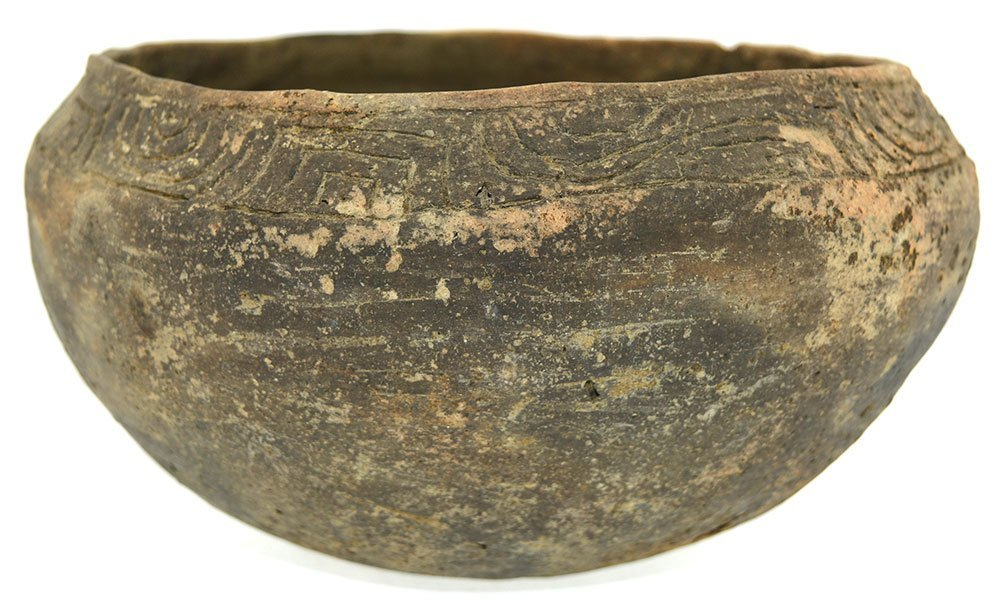 "8 1/8"" D. Three Line Engraved Bowl.  Long Island, AL. - 2"