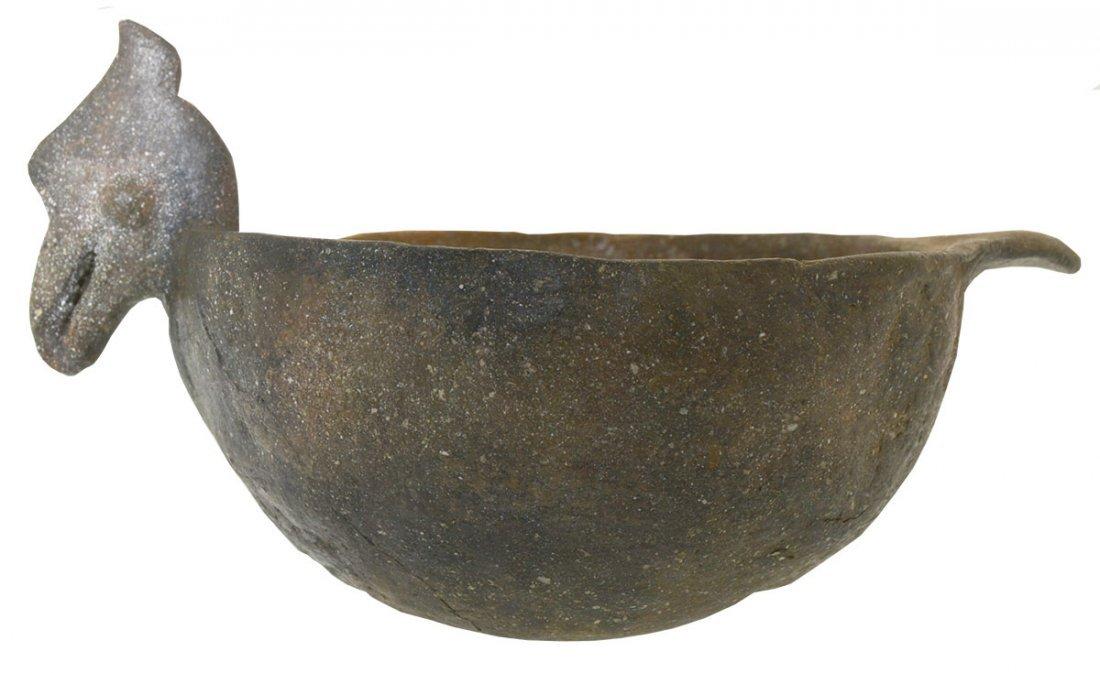 "8 7/8"" D. Rim Effigy (Bird) Bowl.  Solid bowl."