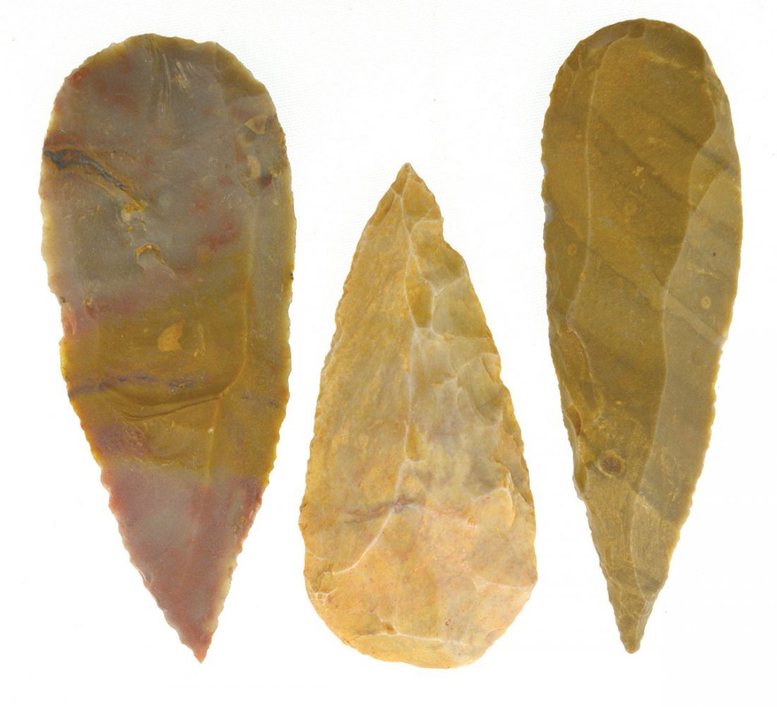 """3 Uniface Neolithic Blades.  2 1/4""""-3 1/2"""".  Niger,"""