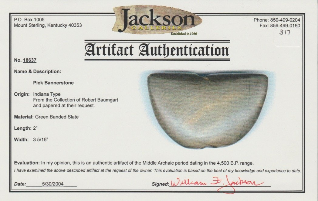 """3 5/16"""" Winged Bannerstone.  IN.  Banded slate.  Good - 3"""