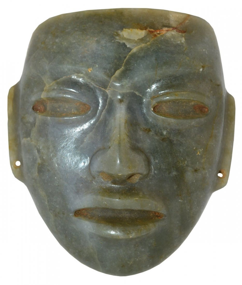 "4 1/8"" Jade Mask.  Pictured in WW#7 (color section,"