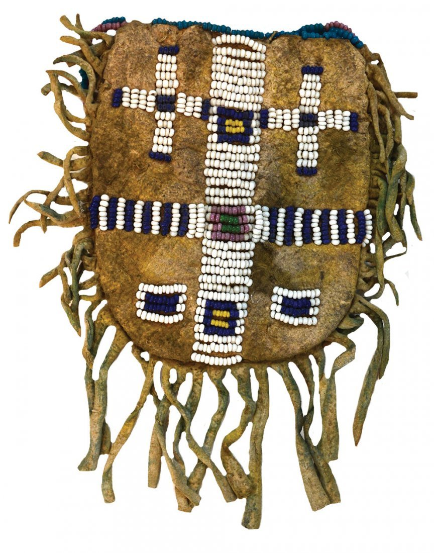 "3 3/8"" (bag only) Arapaho Beaded Bag.  Older example"