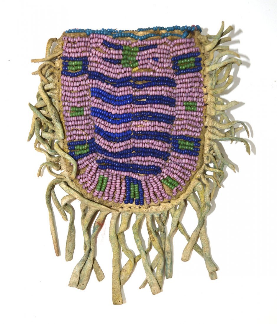 "3 3/8"" (bag only) Arapaho Beaded Bag.  Older example - 2"