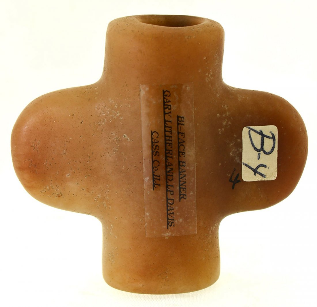 """2 7/16"""" Bottle Bannerstone.  Cass Co, IL.  Pictured in - 2"""