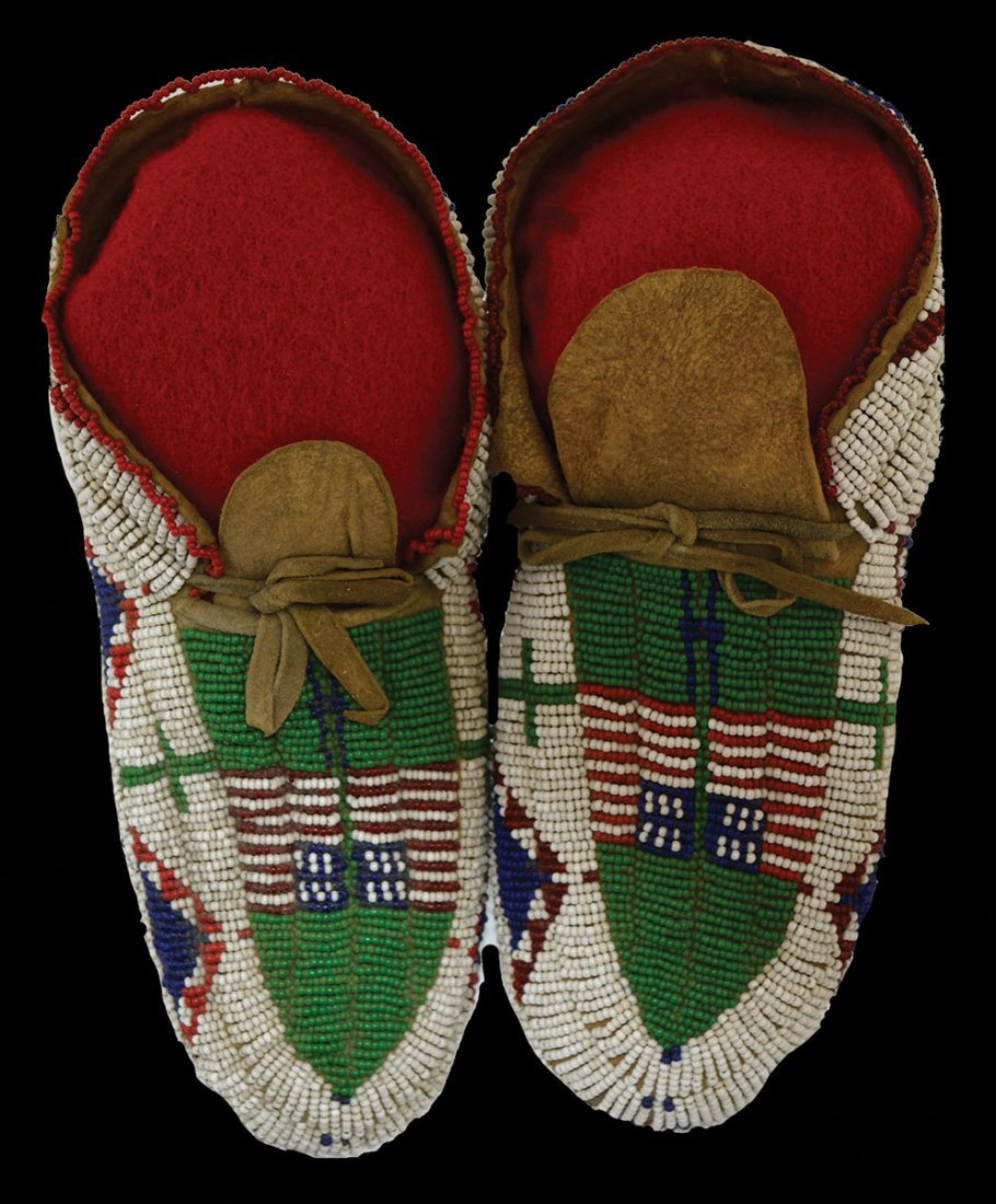 "8 1/4"" Fully Beaded Moccasins.  Early 1900's.  South"