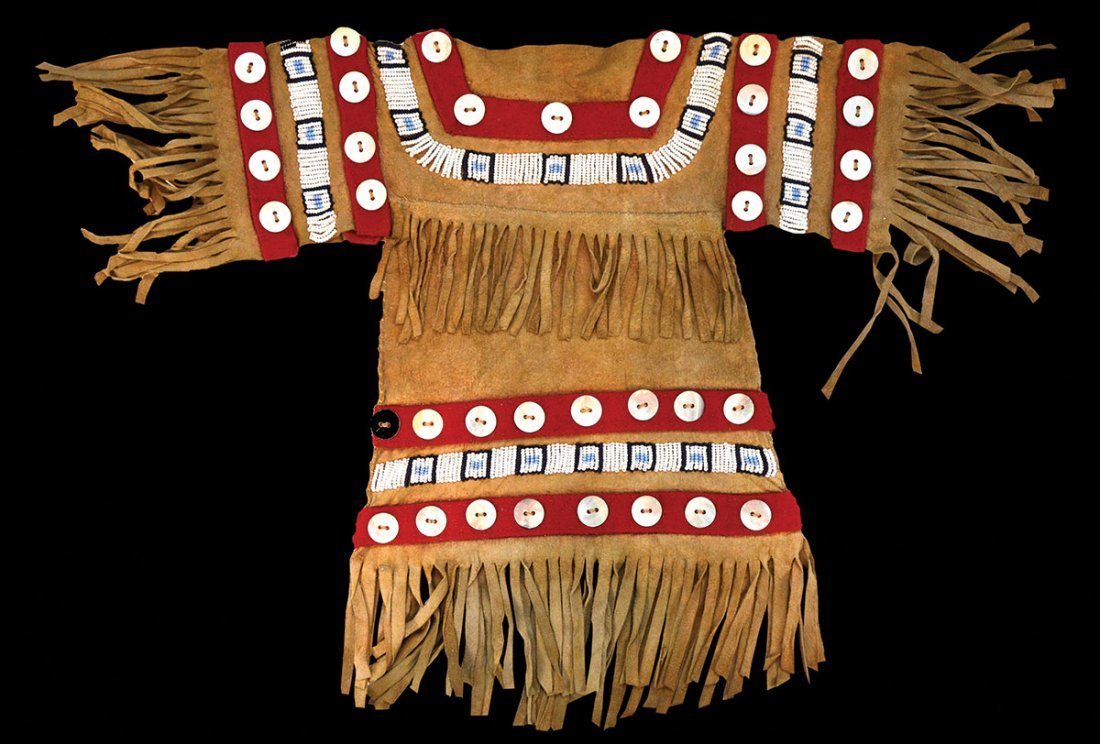 """16"""" T (with fringe) Childs Beaded Leather Dress."""