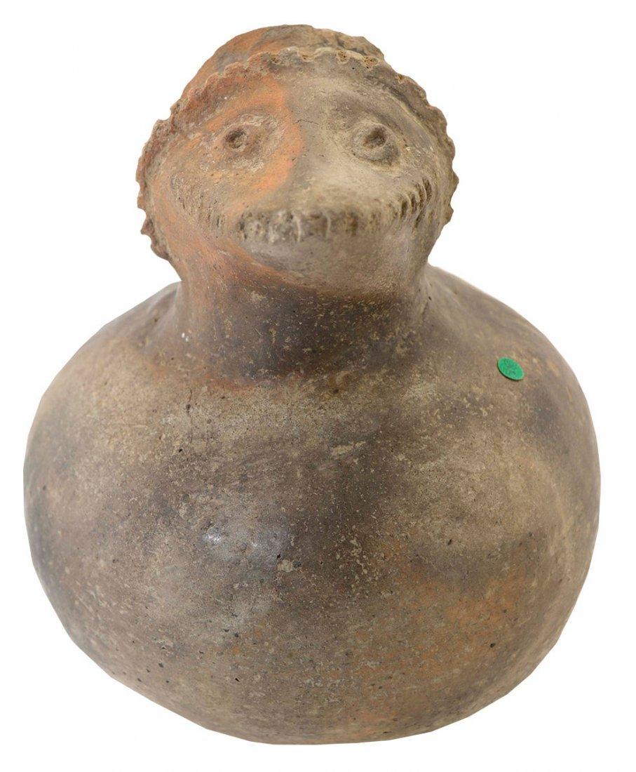 "6"" H. Hooded Possum Effigy Bottle.  Pemiscot Co, MO"