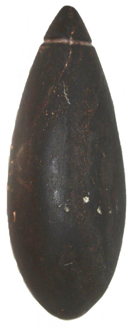 "2 7/8"" Grooved Hematite Plummet.  MO.  G10 example."