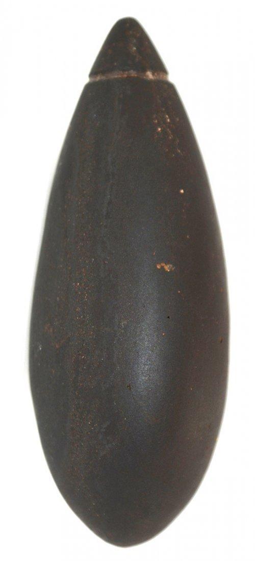"2 7/8"" Grooved Hematite Plummet.  MO.  G10 example. - 2"