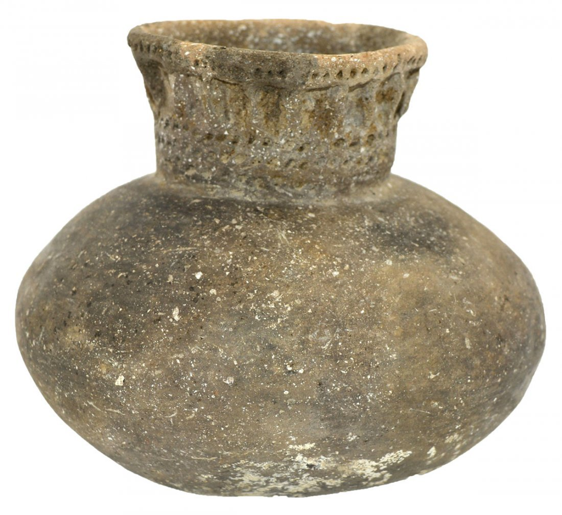 """5 1/4"""" D. Campbell Punctate Jar.  Campbell Site."""