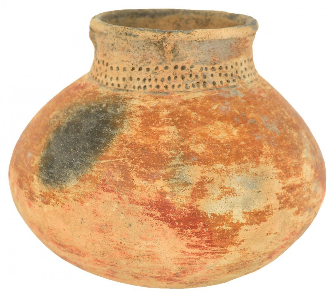 """5 7/8"""" D. Campbell Punctate Red on Buff Jar.  Pemiscot"""