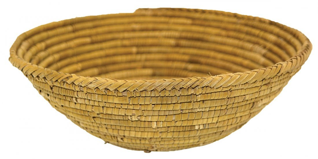"""7 5/8"""" D. Native American Coiled Mission Basket."""