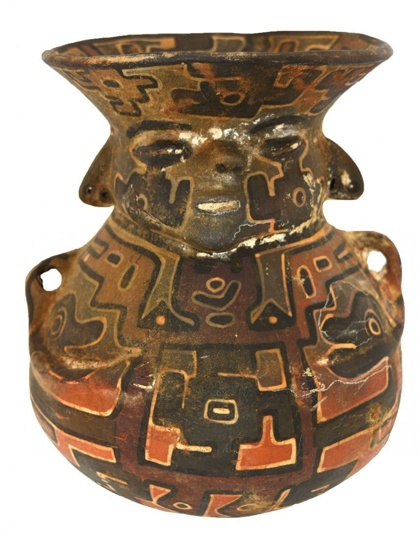 """7"""" Polychrome Human Vessel.  Southern Andes."""