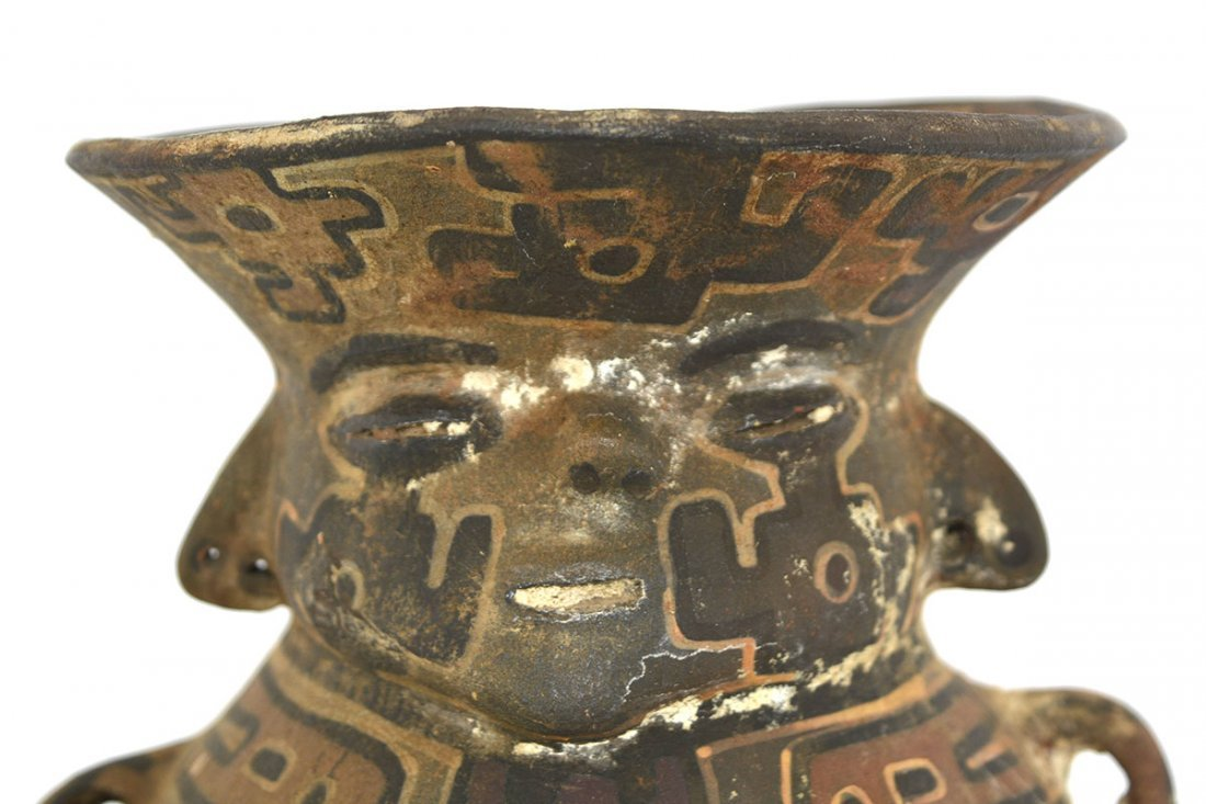 """7"""" Polychrome Human Vessel.  Southern Andes. - 2"""
