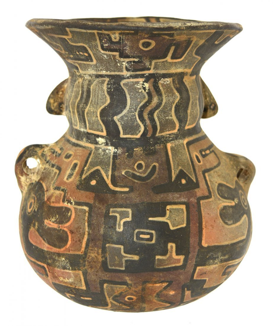 """7"""" Polychrome Human Vessel.  Southern Andes. - 3"""