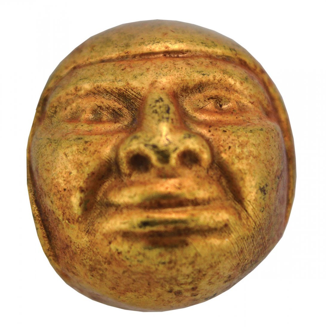 """1 3/16"""" Moche Gold Bead fashioned in the shape of a"""