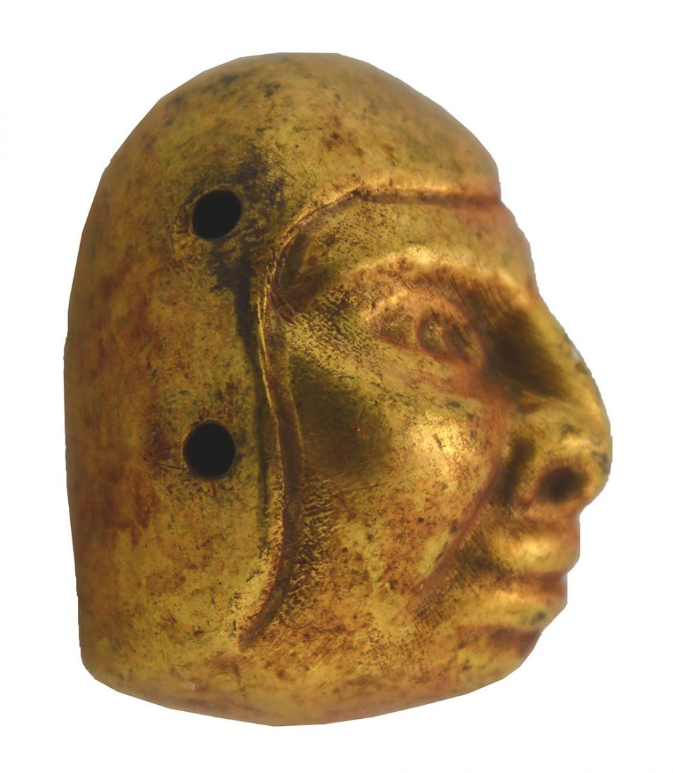 """1 3/16"""" Moche Gold Bead fashioned in the shape of a - 2"""
