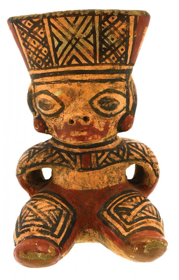 "Wonderfully painted 7"" Seated Figurine.  Costa Rica."