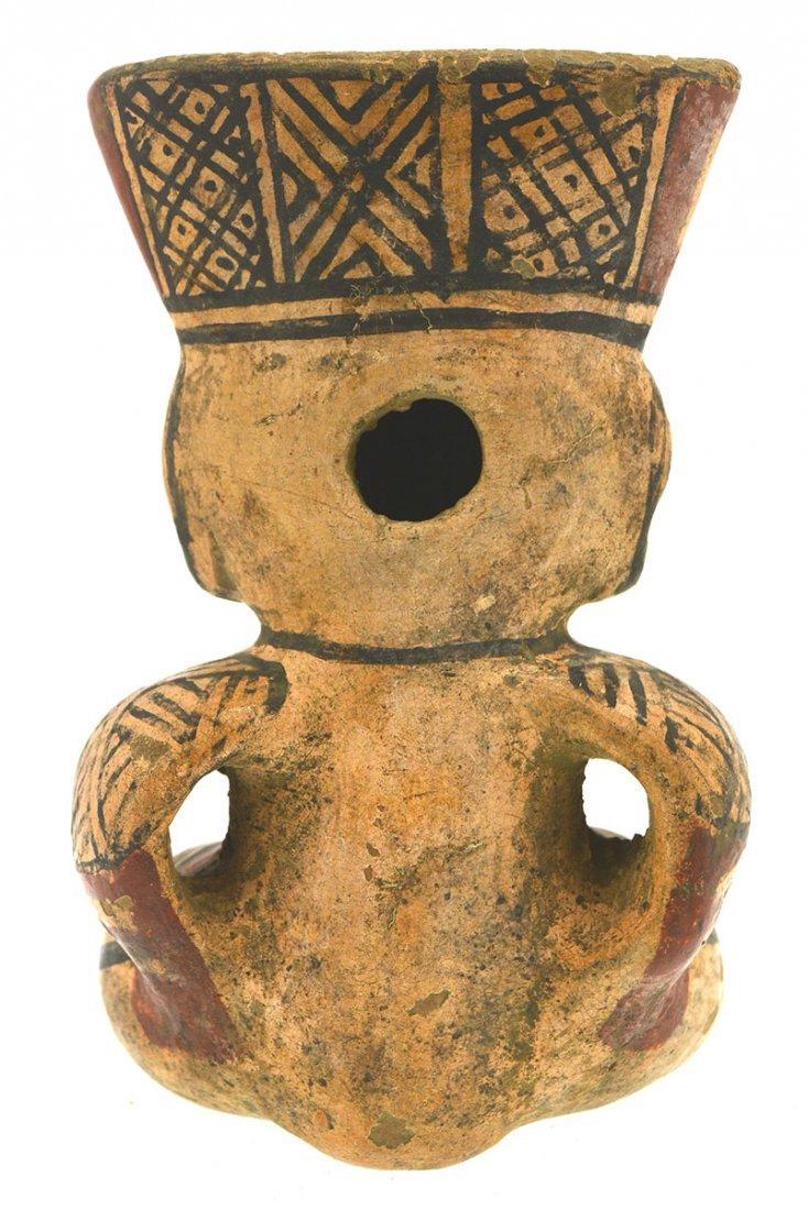 "Wonderfully painted 7"" Seated Figurine.  Costa Rica. - 2"