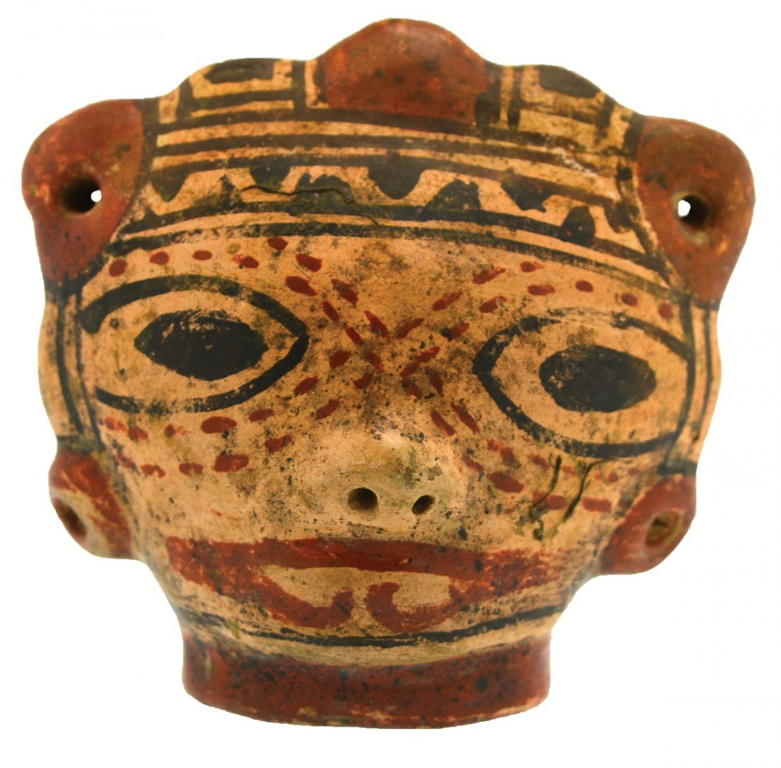 """3 5/8"""" W. Painted Female Head.  Costa Rica.  Greater"""