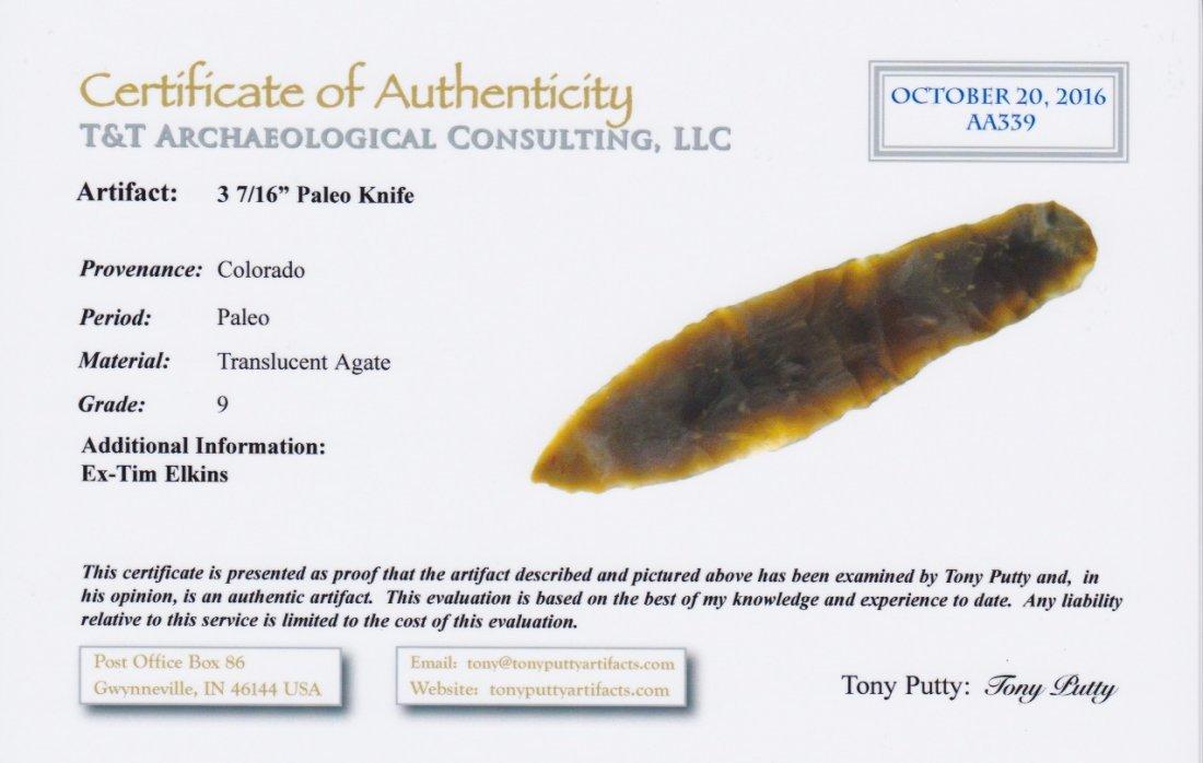 "3 7/16"" Translucent Paleo Knife.  CO.  COA - 3"