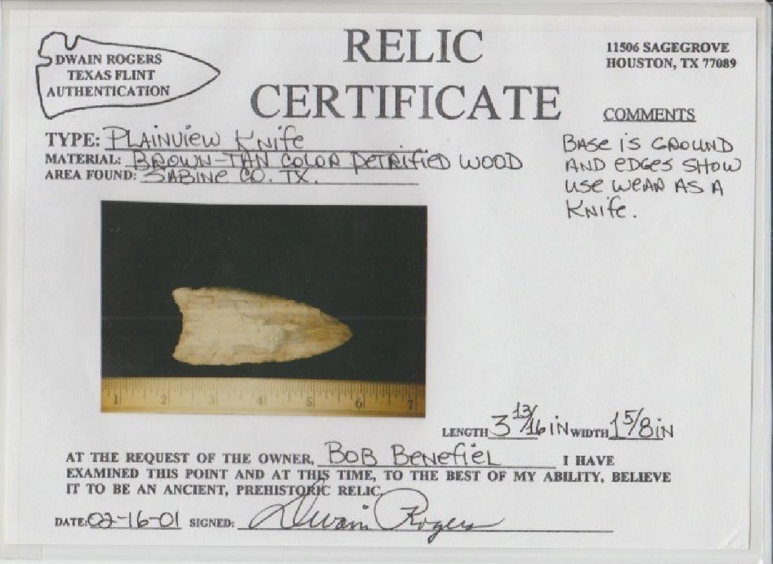 """3 13/16"""" Petrified Wood Plainview Knife. Rogers COA. - 3"""