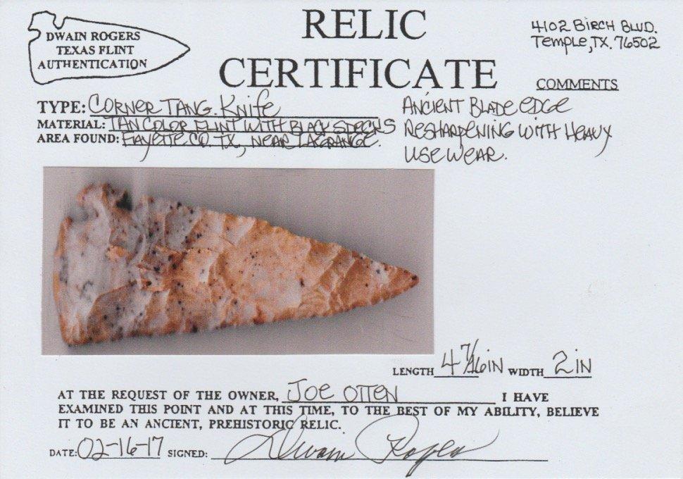 "4 7/16"" Corner Tang Knife.  Fayette Co, TX.   Rogers - 3"