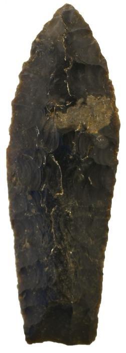 "3 3/16"" Agate Basin.  McIntosh Co, OK.  Black Permian"