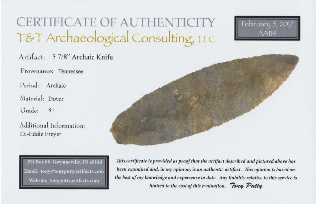 """5 7/8"""" Archaic Blade.  TN.  Large, sturdy Dover blade. - 3"""
