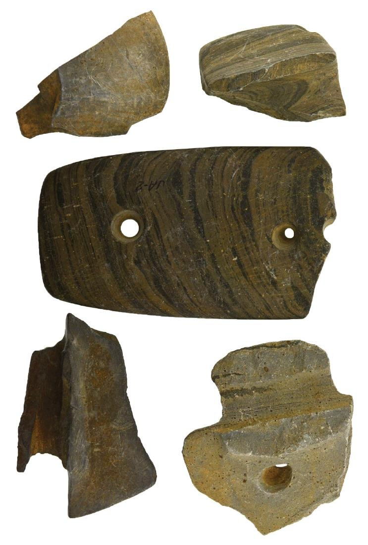 5 Slate Artifact Pieces (Banners/Gorgets).  Brockman