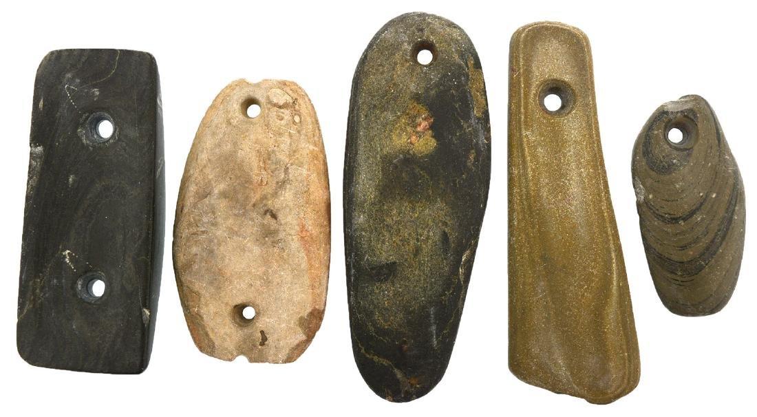 "5 Stone & Slate Pendants/Gorgets.  IL.  2 14/""-4""."