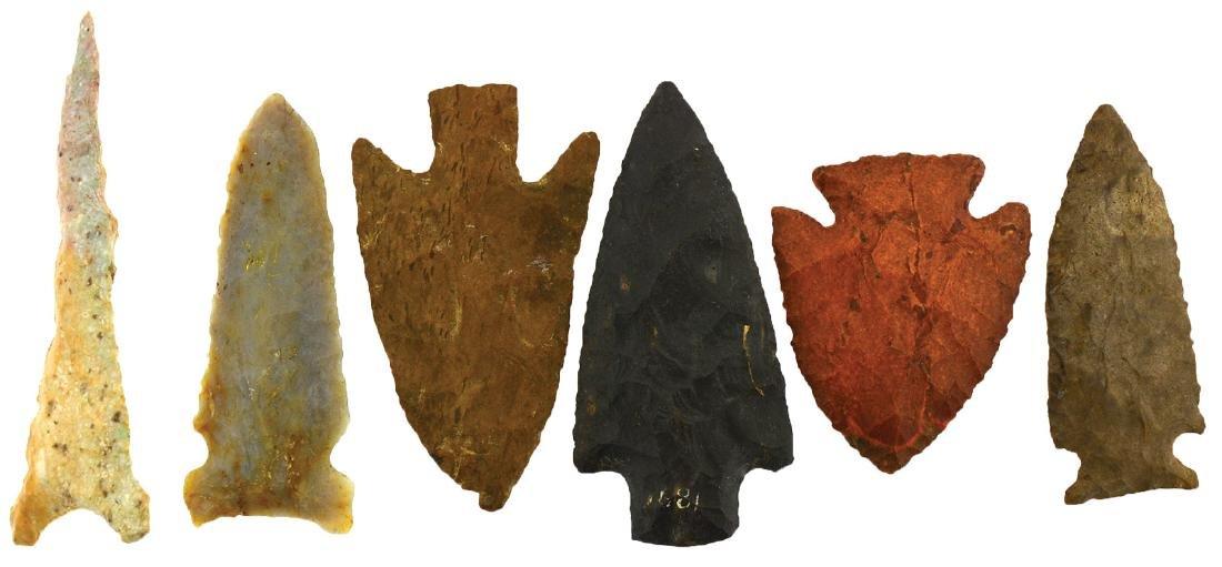 """6 Very Fine Flint Artifacts.  TN.  2 1/4""""-3 3/4""""."""