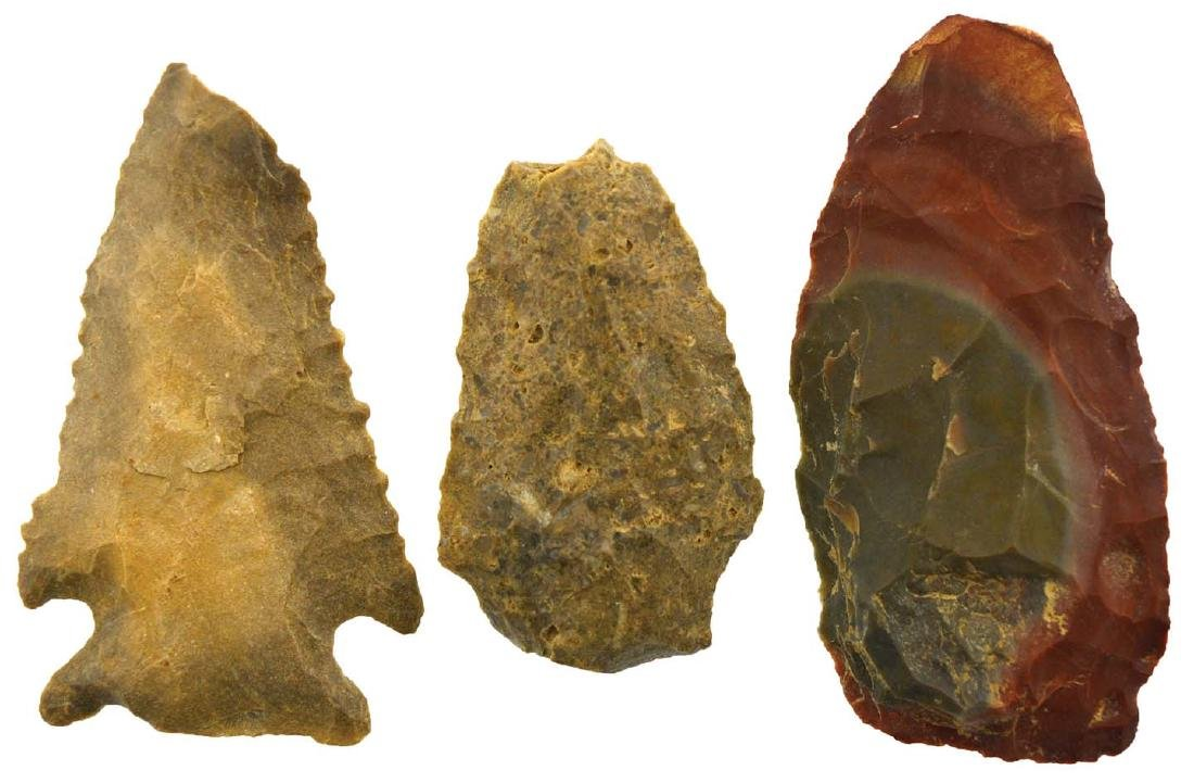 3 Flint Artifacts from Natchitoches Parish, LA