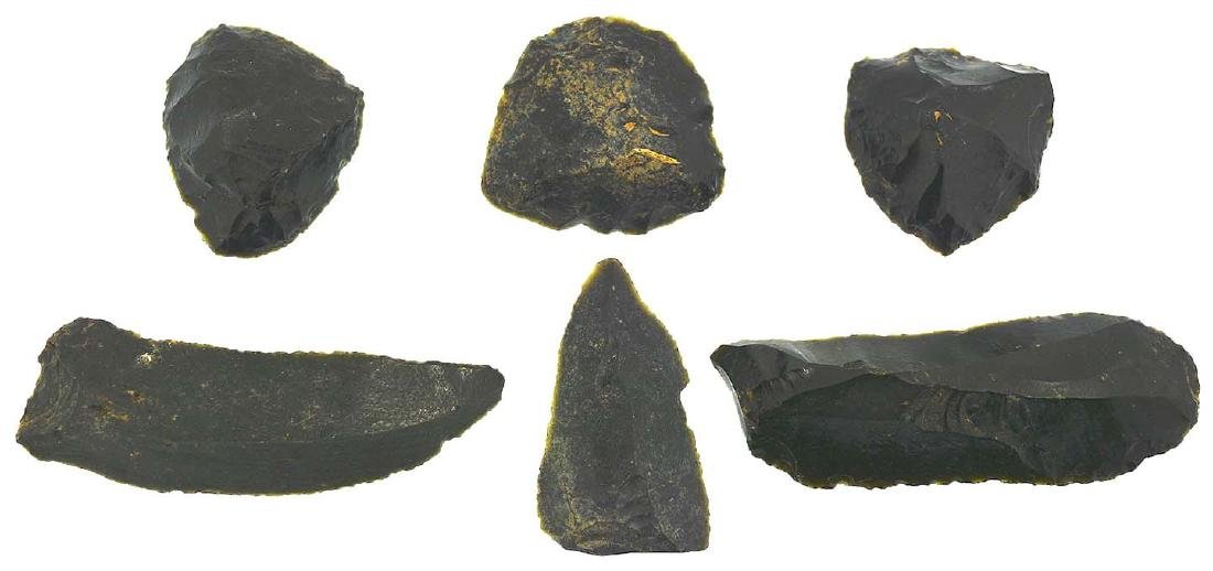 """6 Obsidian Scrapers.  1""""-2 3/8"""".  Paleolithic."""