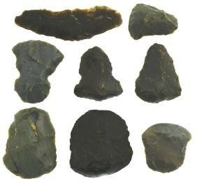 """8 Alaskan Flint Artifacts.  Point Hope, Alaska.  1""""-2"""