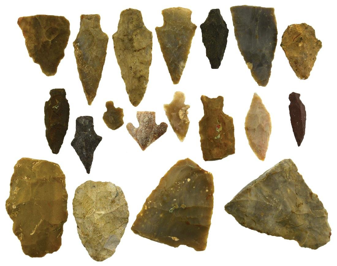 "20 Flint Artifacts.  Texas.   5/8""-2 3/8"".  Ex-Fred"