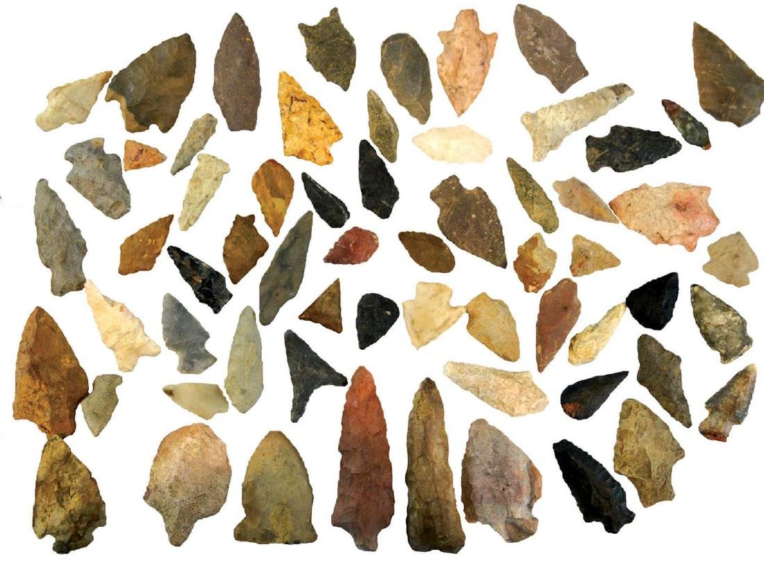 """Group of 63 Flint Artifacts.  7/8""""-3 5/8"""".  Mostly"""