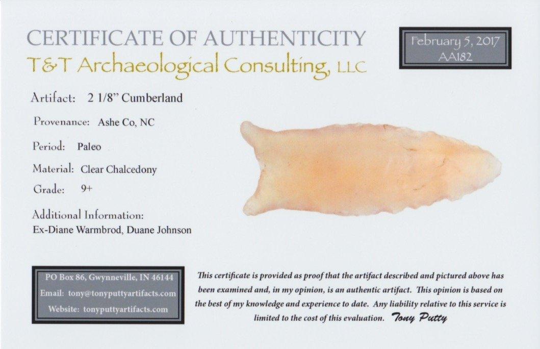 "2 1/8"" Cumberland.  Ashe Co, NC.  Clear Chalcedony. - 4"