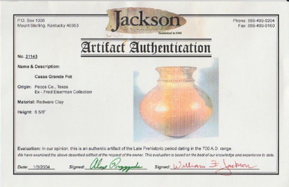 """6 5/8"""" H. Casa Grande Jar.  Solid.  Jackson COA - 5"""