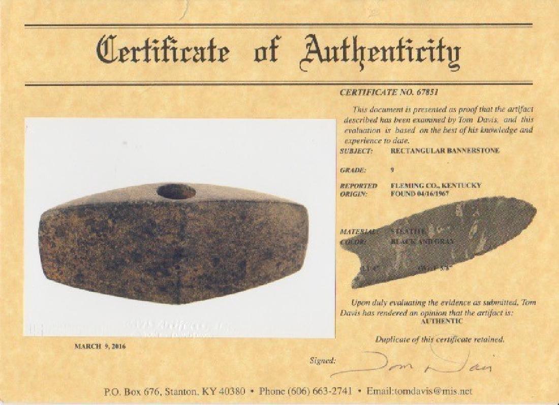 "4"" Rectangular Bannerstone.  KY.  Davis COA - 3"