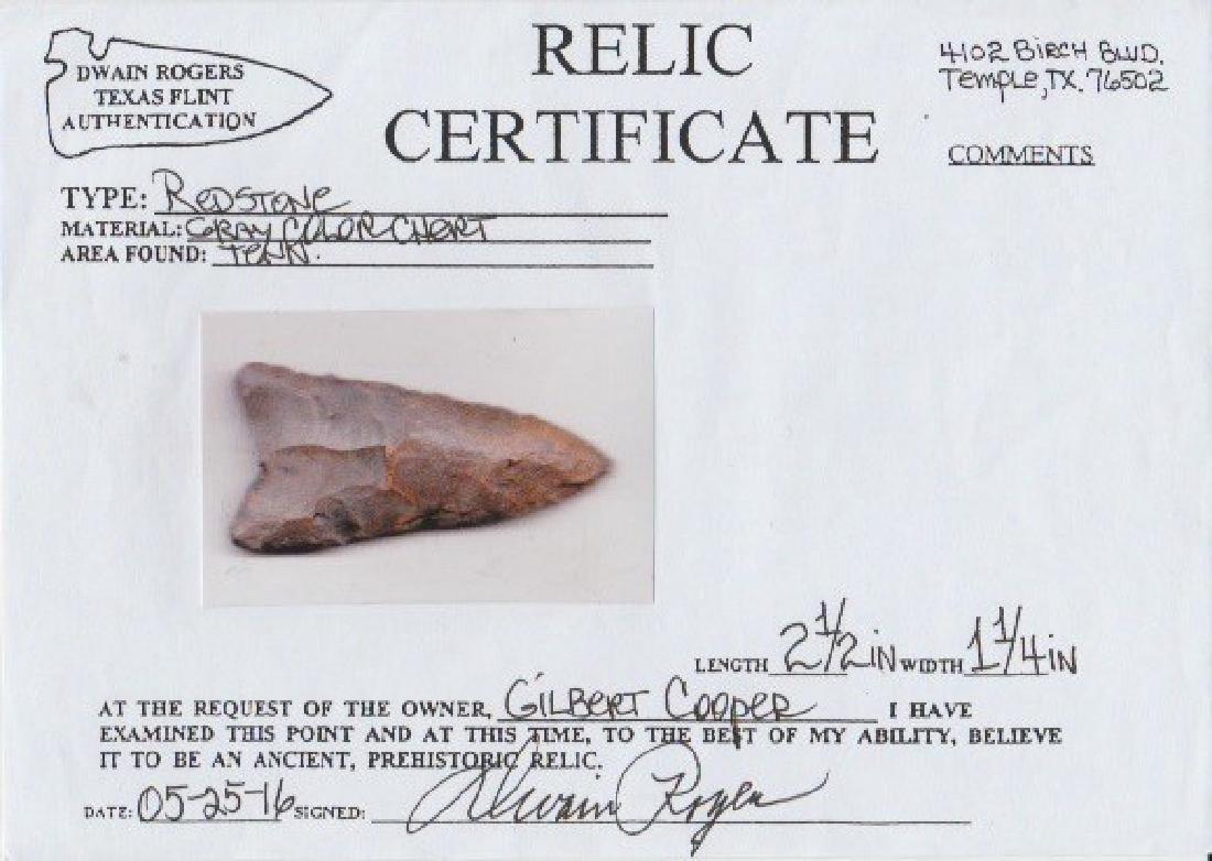 "2 1/2"" Redstone.  TN.  Rare Clovis type.  Dover, G10. - 3"