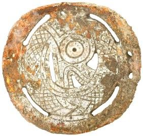 """3 3/4"""" Fenestrated Rattlesnake Gorget.  Pictured"""