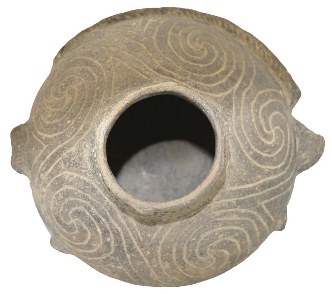 """7 7/8"""" D. Engraved Fish Effigy Bowl.  Pemiscot Co, MO. - 2"""
